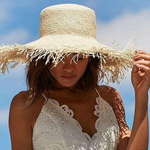 WYETH Bardot Extra Long Fringe 60's Beach Hat $98